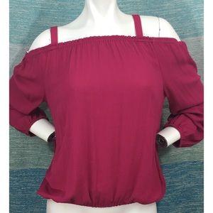 Sanctuary Fuchsia Cold Shoulder Blouse Shirt Loose